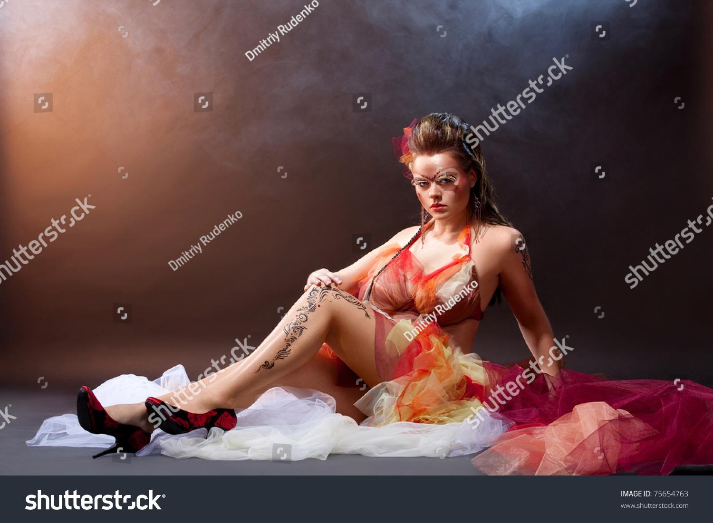 Amazon Girl Creative Bodyart Faceart Stock Photo Edit Now 75654763