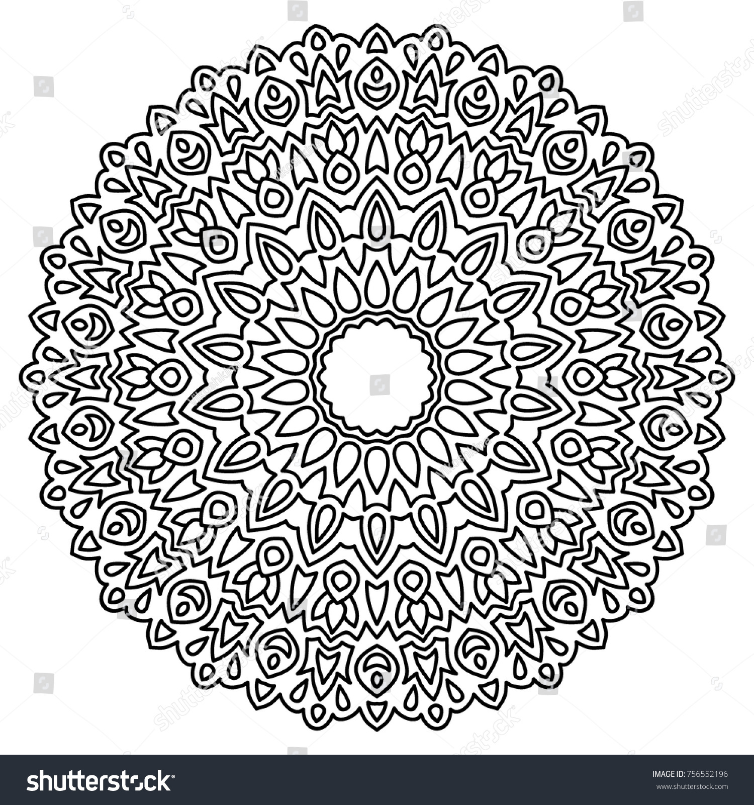 Delicate Snowflake Adult Coloring Book Page Stock Vector 756552196 ...