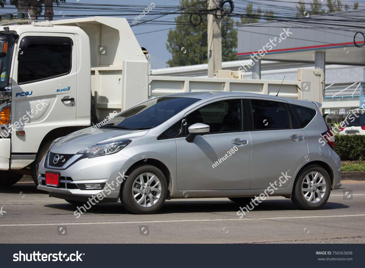 chiang mai, thailand -october 29 2017: private new eco car nissan