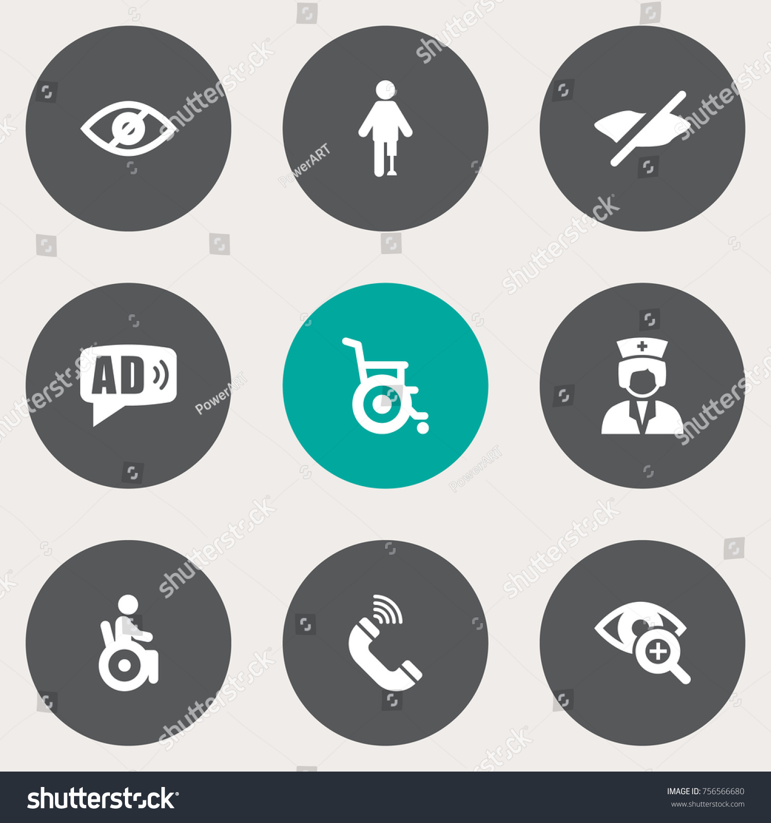 Set 9 disabled icons setcollection blindness stock vector 756566680 collection of blindness universal access can not buycottarizona Gallery