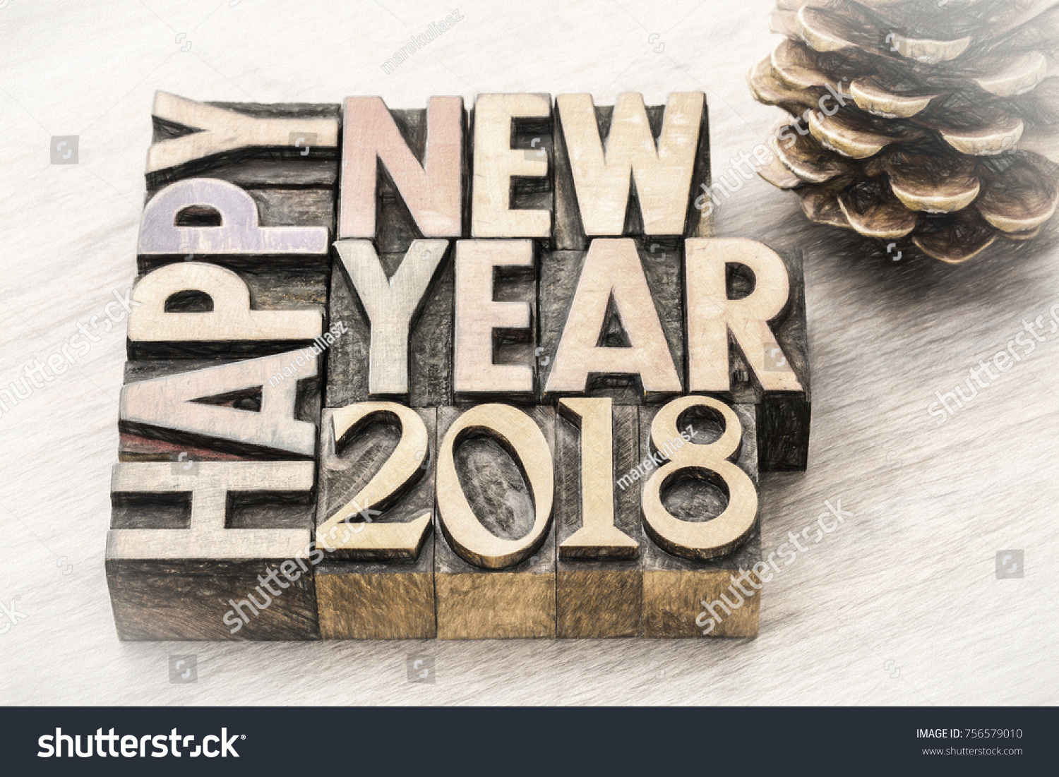 happy new year 2018 greeting card text in vintage letterpress wood type blocks charco