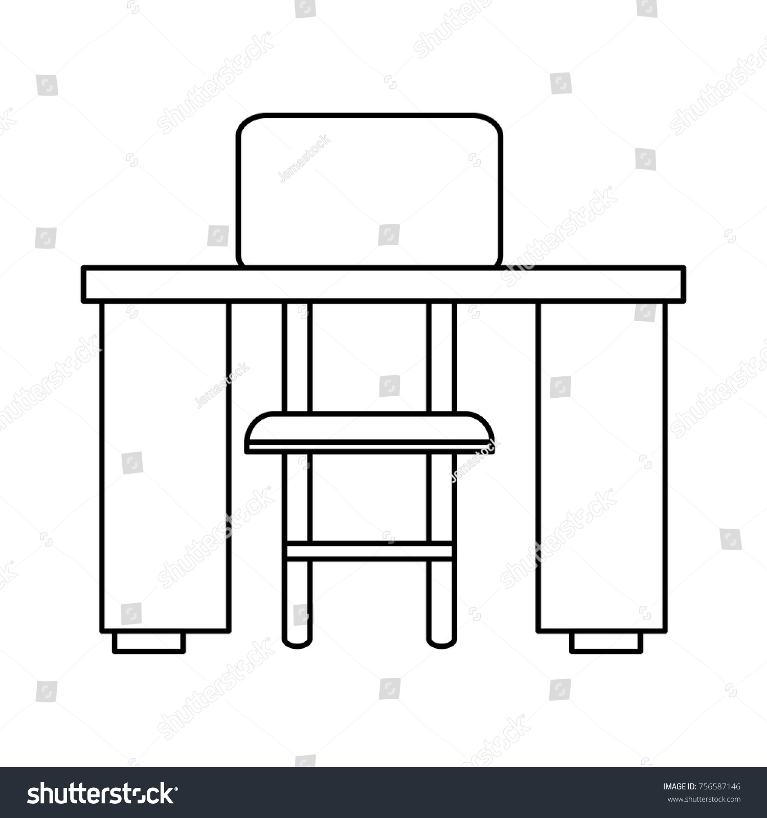 Study Desk Chair Stock Vector (Royalty Free) 10