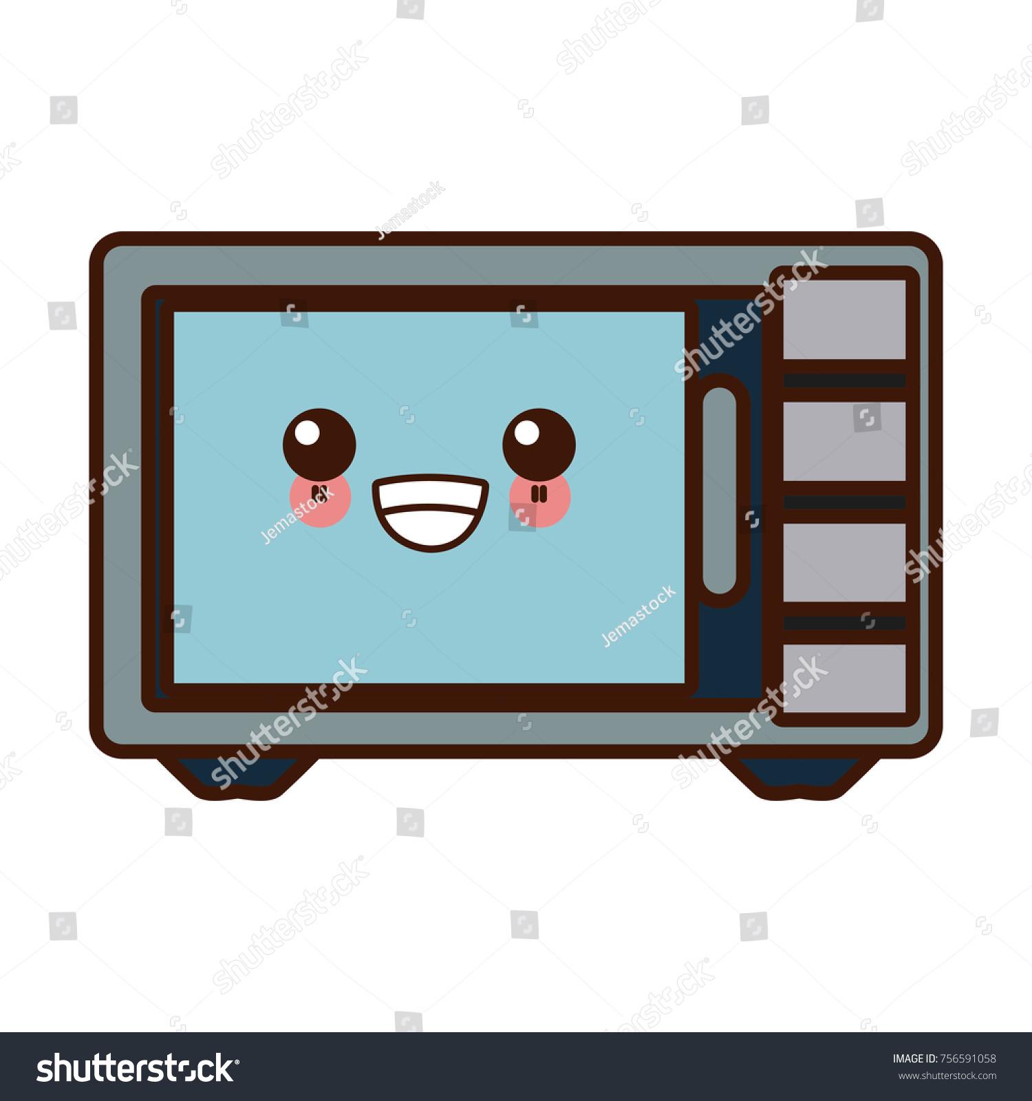 Microwave Kitchen Appliance Cute Kawaii Cartoon Stock Vector ...
