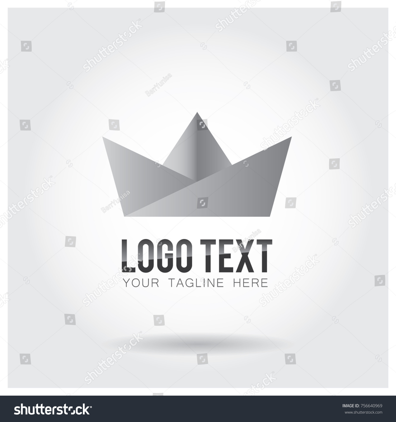 Origami Boat Logo Icon Vector Template