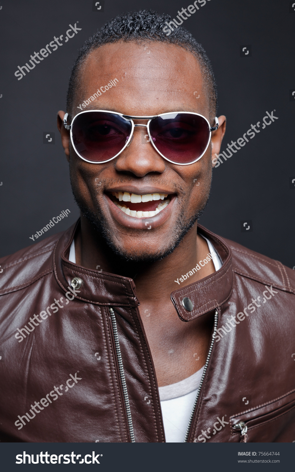 Smiling Casual Young Black Man Wearing Brown Leather ...