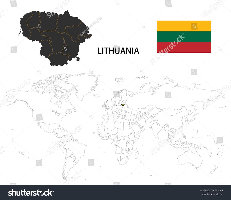 Lithuania Map On World Map Flag Stock Vector 756658498 Shutterstock