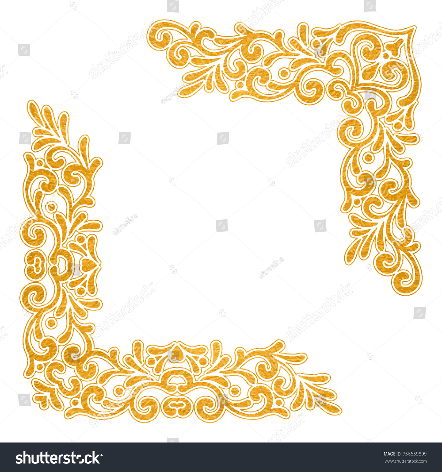 Gold Textured Vintage Corners On White Stock Vector HD (Royalty Free ...