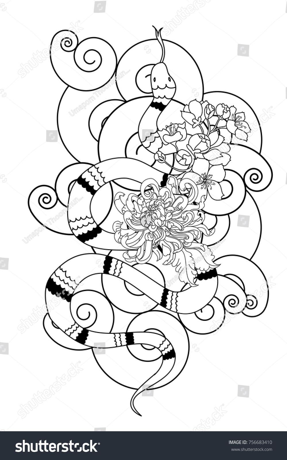 Black White Japanese Snake Cobra Chrysanthemum Stock Vector ...