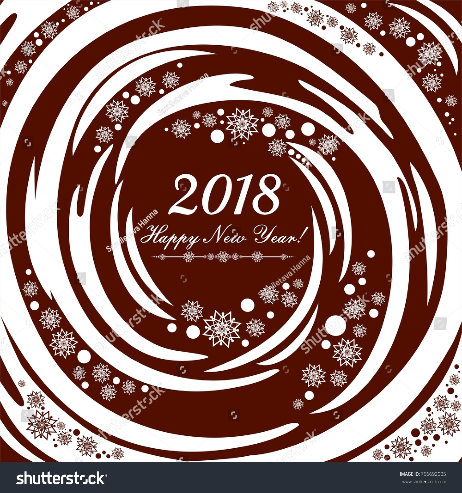 happy new year 2018 greeting card celebration chocolate background with christmas snowflakes and place for
