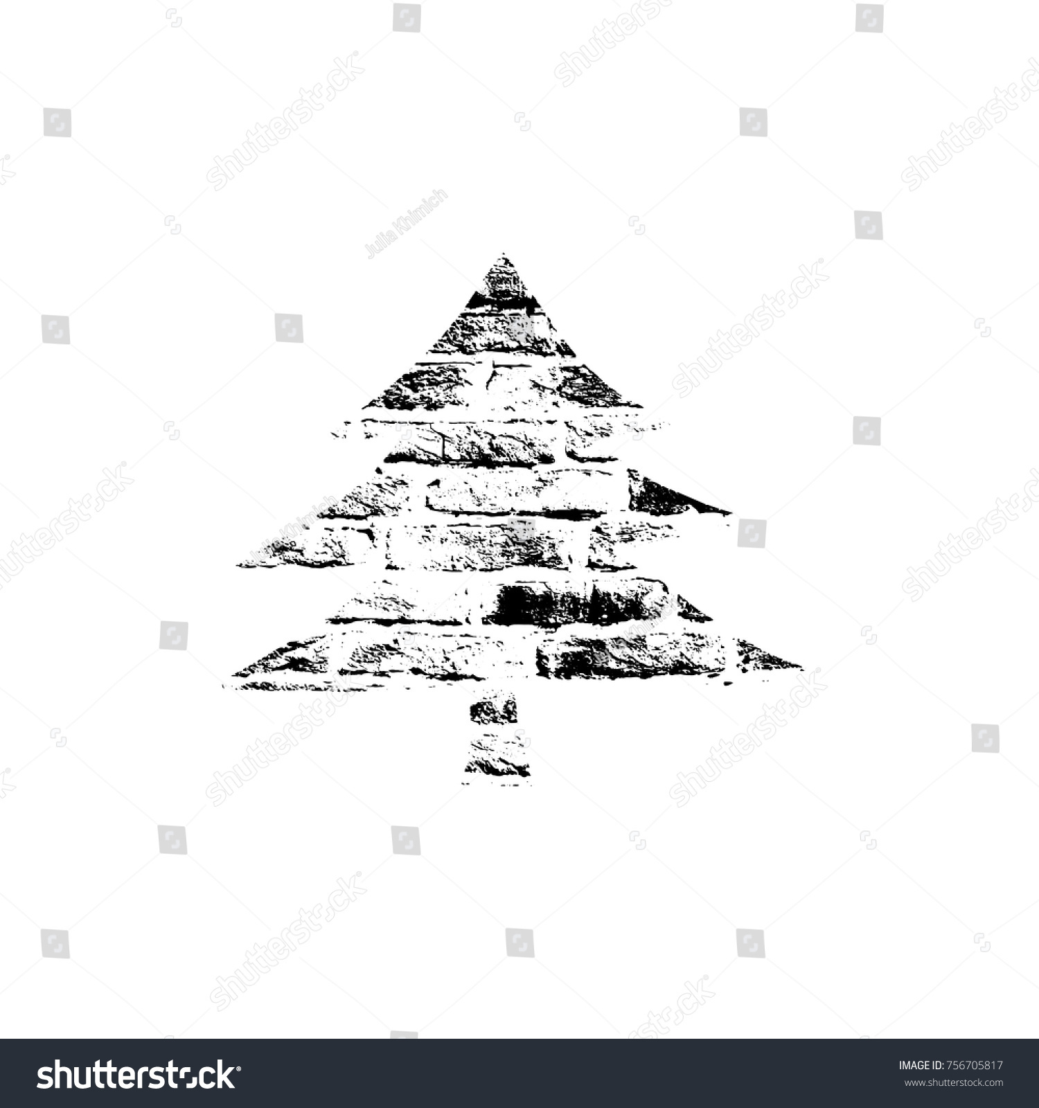 Vector Textured Christmas Tree Stylized Imprint On Bricks Black White Isolated Element For