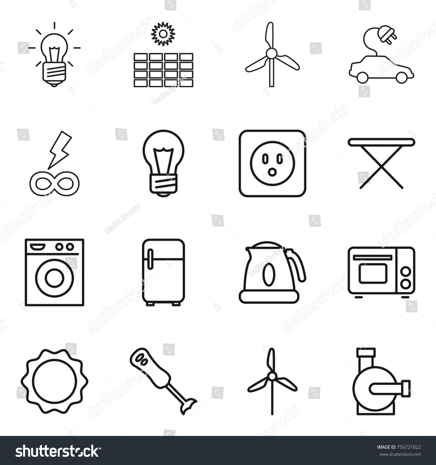 Thin line icon set bulb sun stock vector 756721822 shutterstock thin line icon set bulb sun power windmill electric car infinity pooptronica Gallery