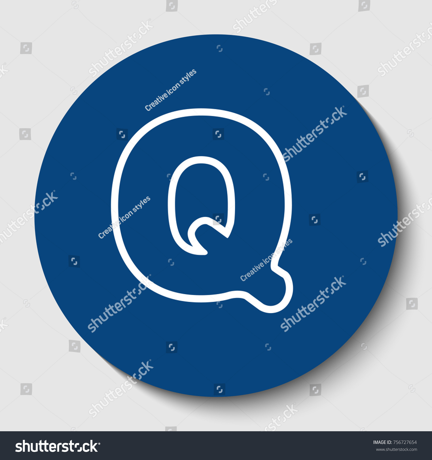 Letter Q sign design template element. Vector. White contour icon in dark  cerulean circle