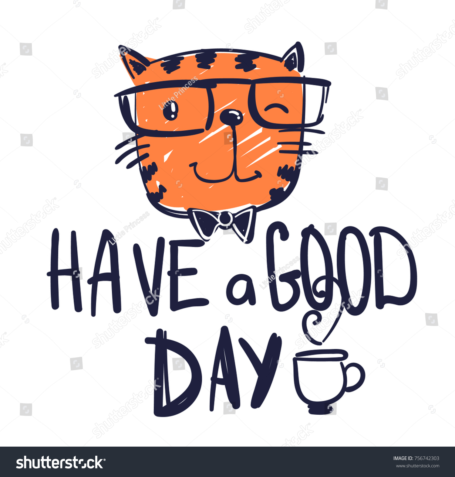 Have Good Day Pussy Cat Illustration Stock Vector Royalty Free