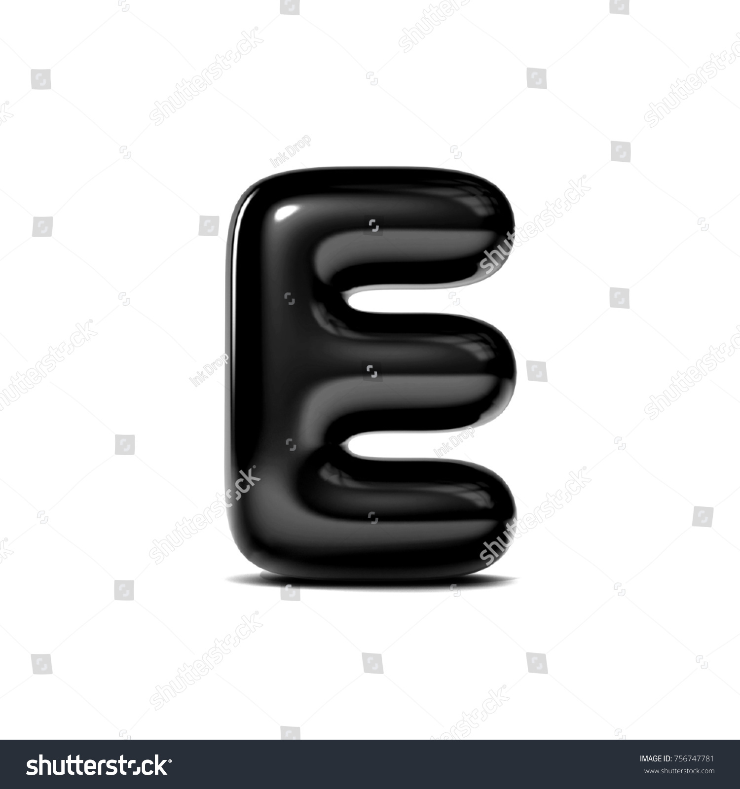 Glossy Letter E Bubble Font Isolated Stock Illustration