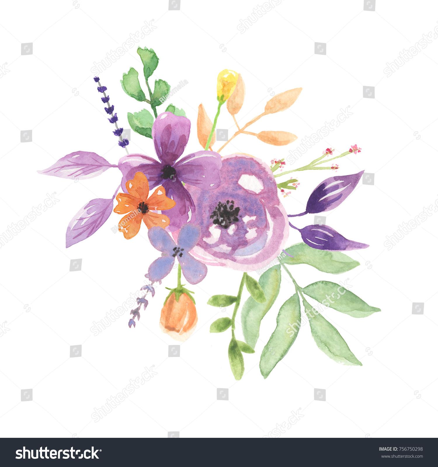 Watercolor Lavender Flower Bouquet Painted Arrangement Stock ...