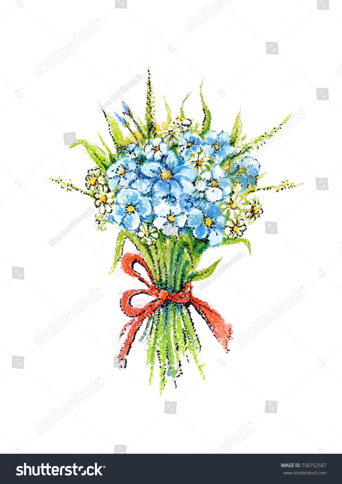 Bouquet Flowers Drawing Watercolor Pastel Stock Illustration ...