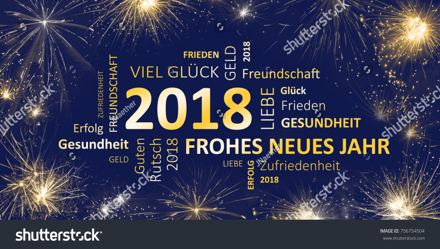 Sylvester Card 2018 Frohes Neues Jahr Stockillustration 756754504 ...
