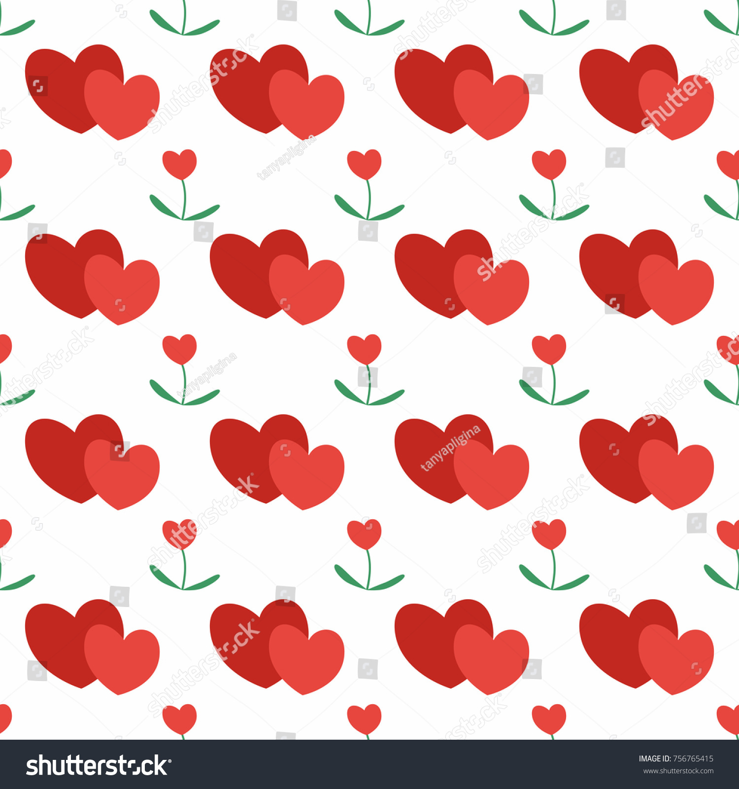 Seamless Pattern Large Red Hearts Background Stock Vector (Royalty ...