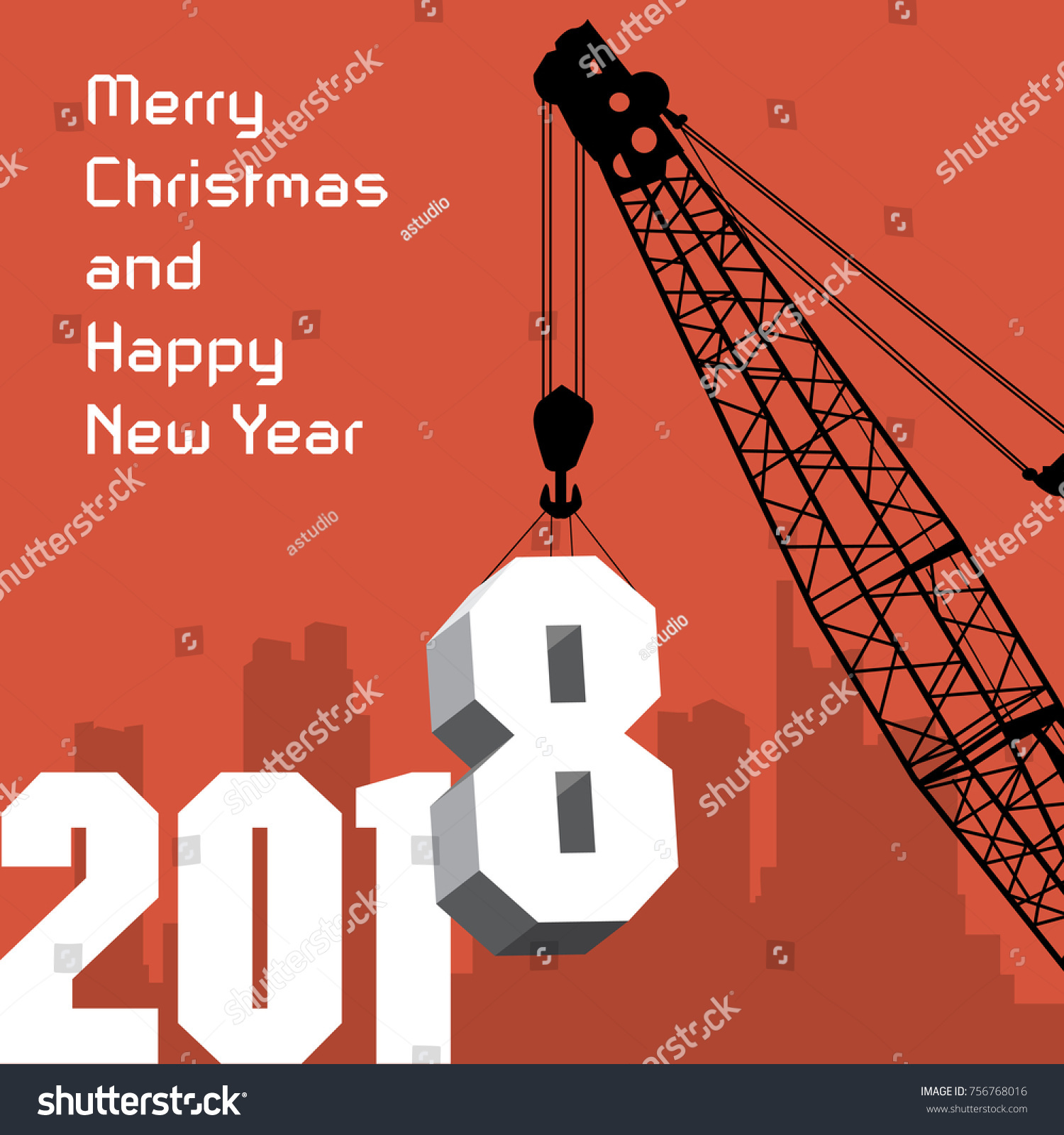 Happy new year greeting card crane stock vector royalty free happy new year greeting card crane at work vector illustration m4hsunfo