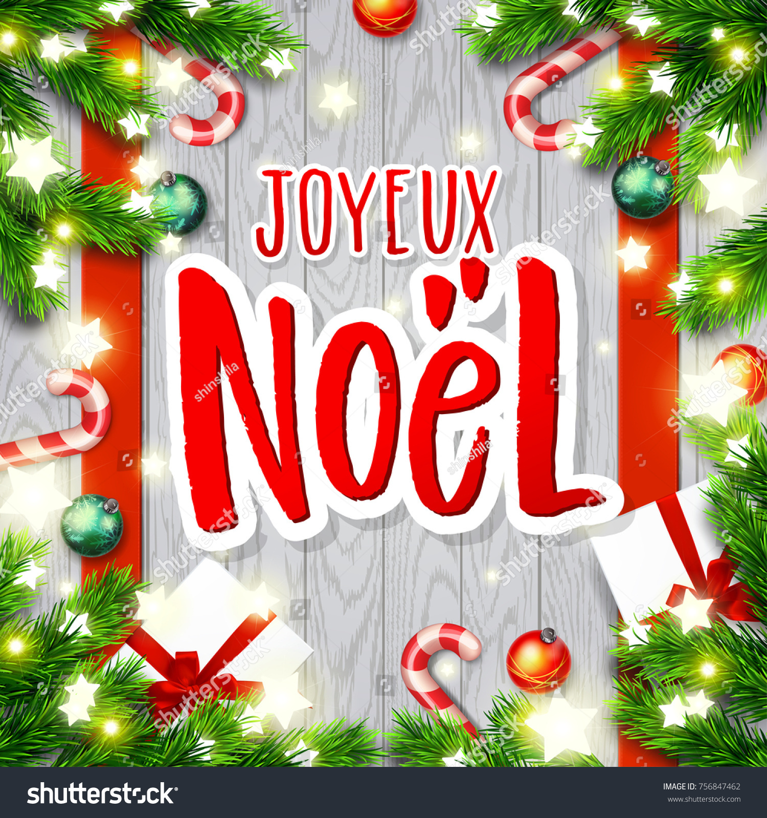 Merry Christmas Greeting Card Greetings French Stock Vector
