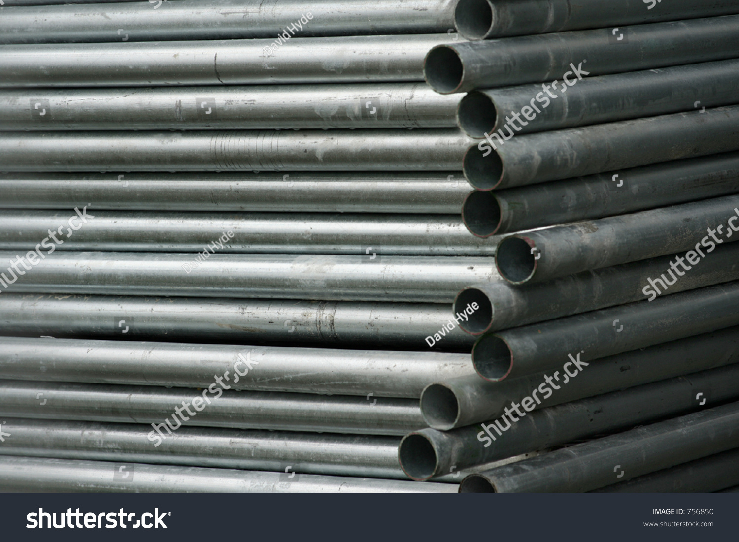 Stack of steel pipe trestles used for temporary sports