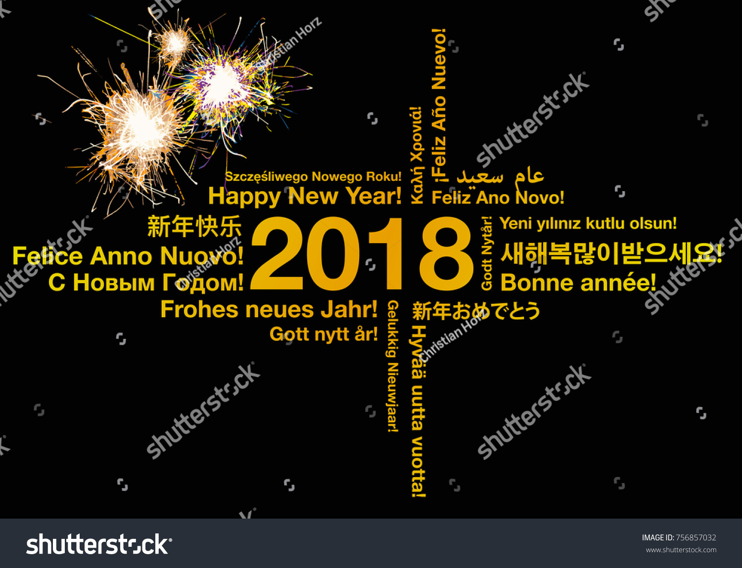 Happy New Year Different Languages Greeting Stock Vector 756857032