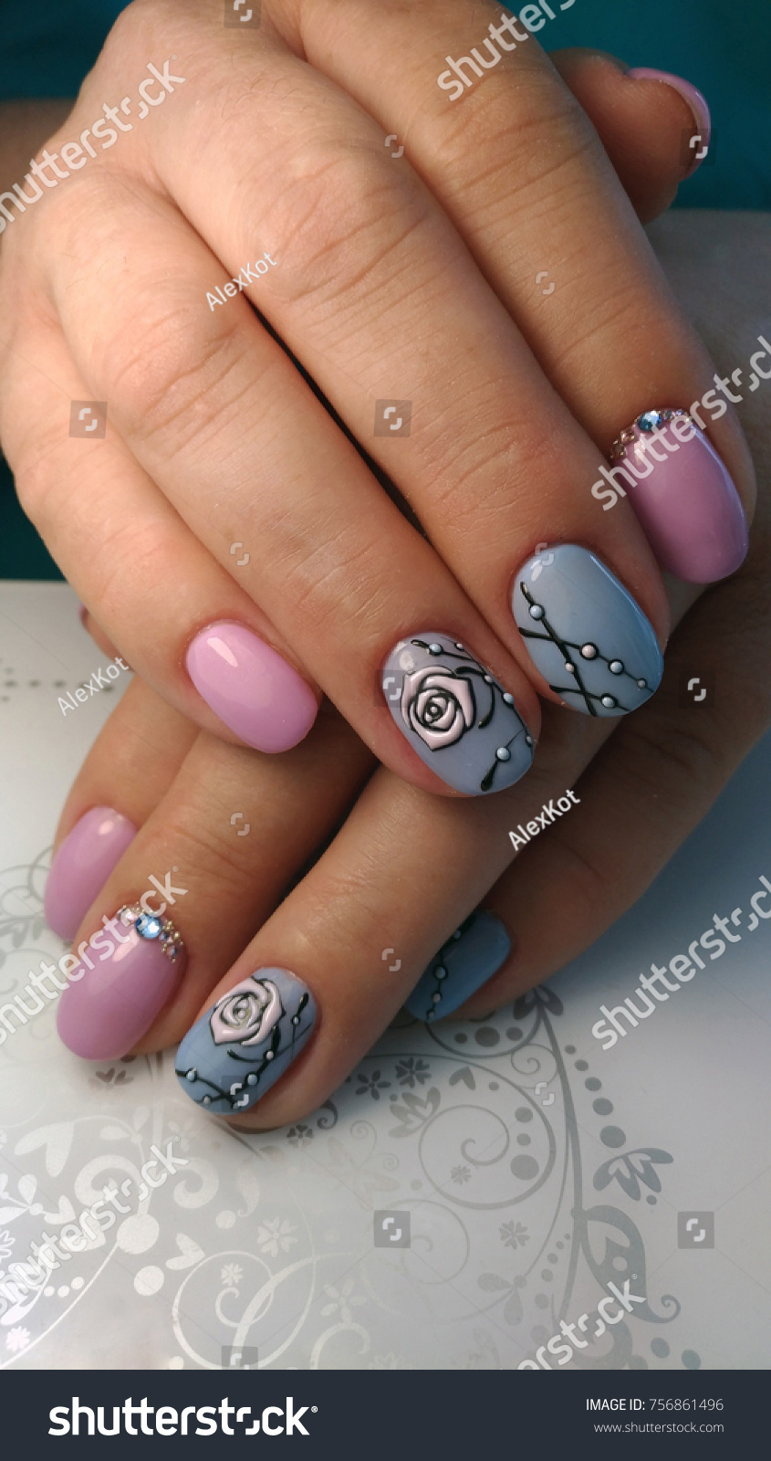 Nail Design Made Style Sweet Bloom Stock Photo (Edit Now ...