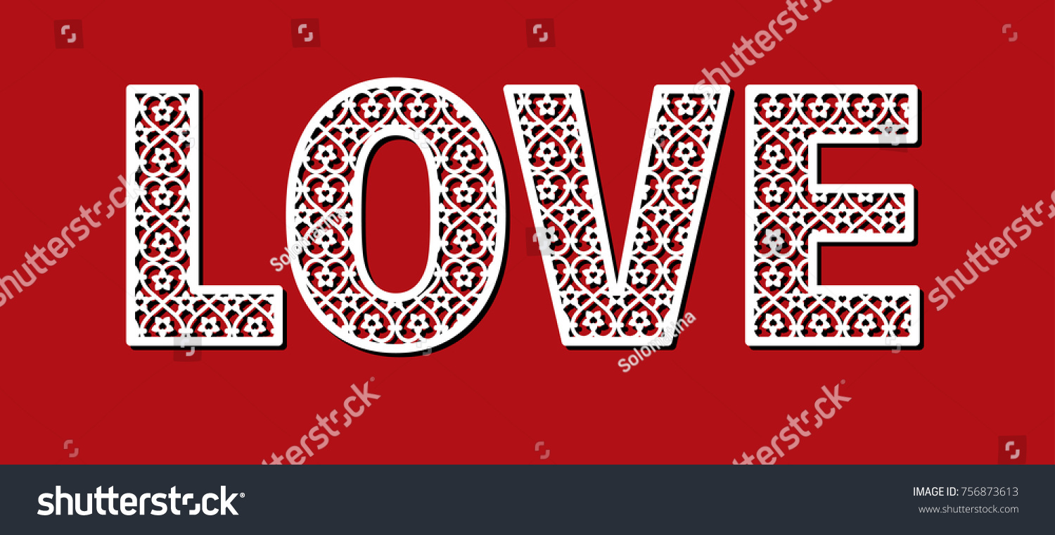 Love Laser Cut Silhouette Letter Template Stock Vector (Royalty Free ...