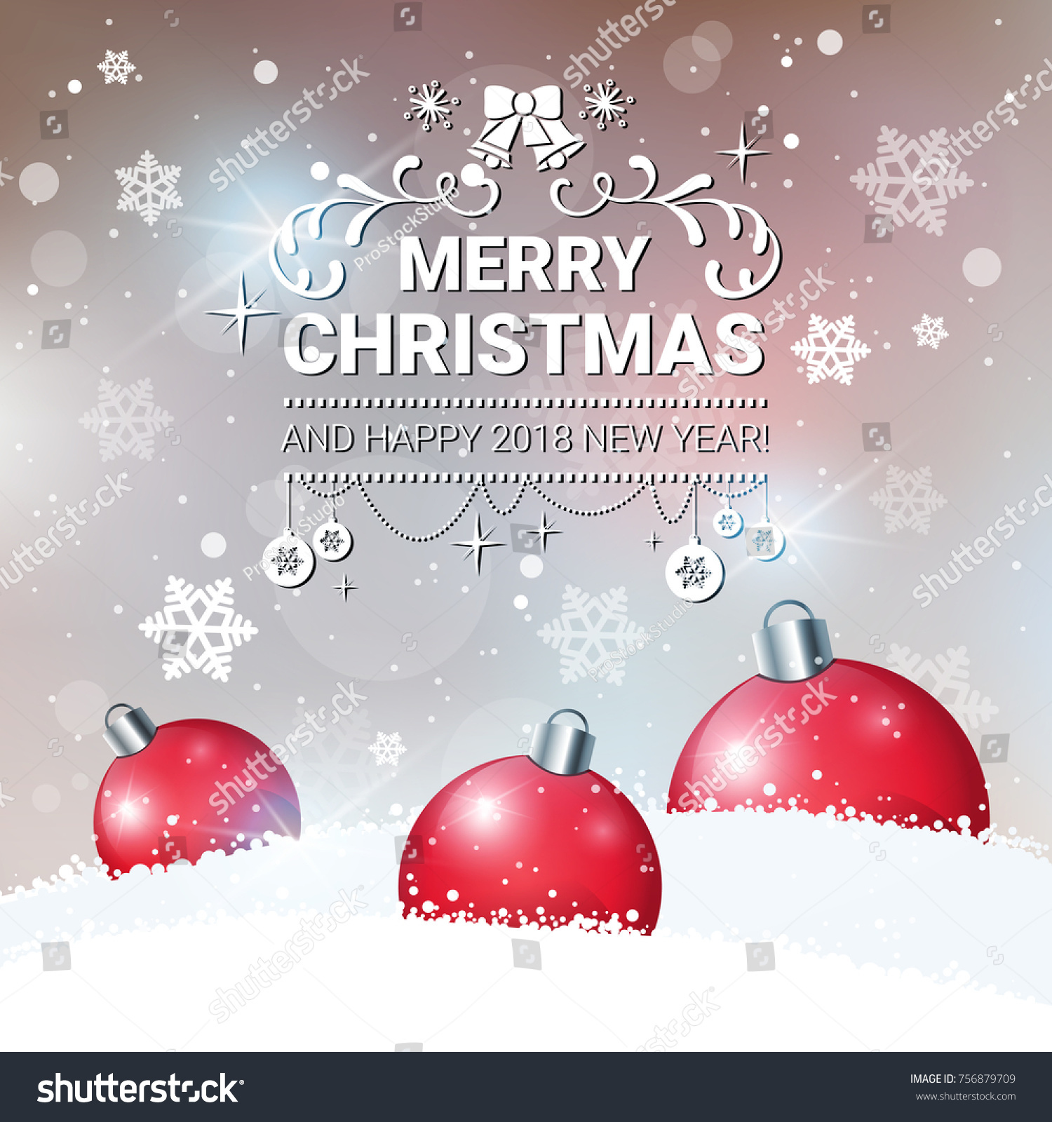 Christmas Decoration Poster Happy New Year Stock Vector (Royalty ...