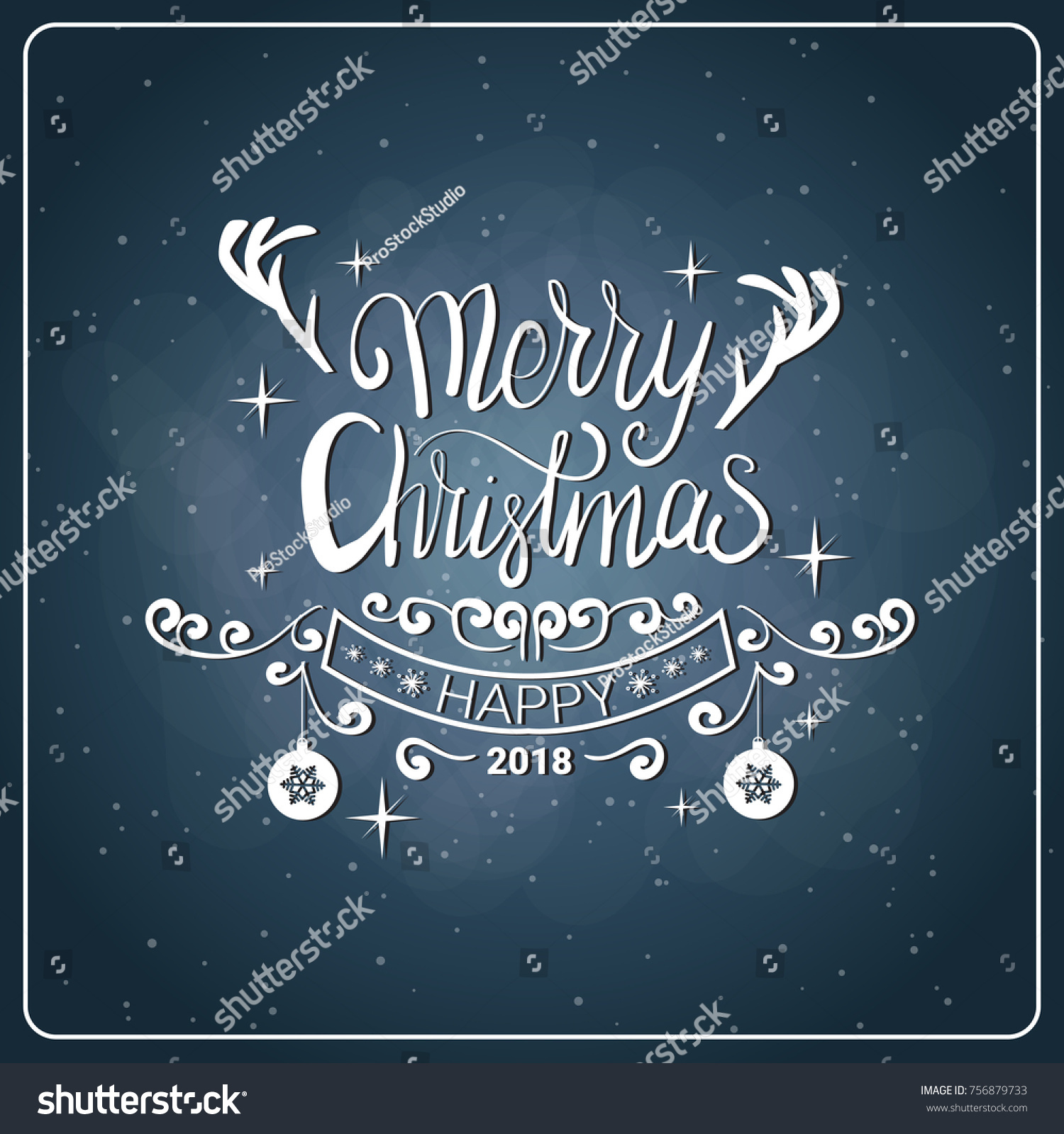 Creative Christmas Icon Vintage Chalk Board Stock Vector ...