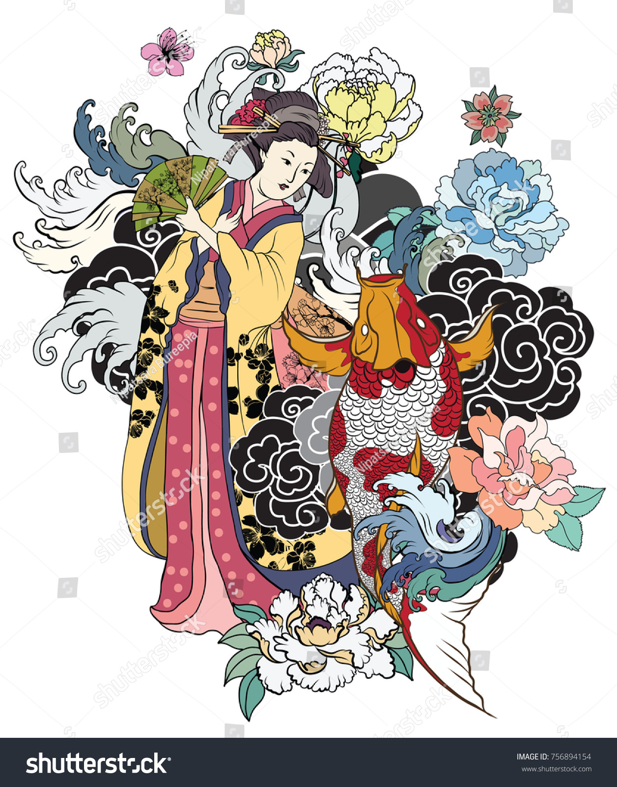 Hand drawn geisha women hold fan japanese women in kimono with cherry blossom and koi
