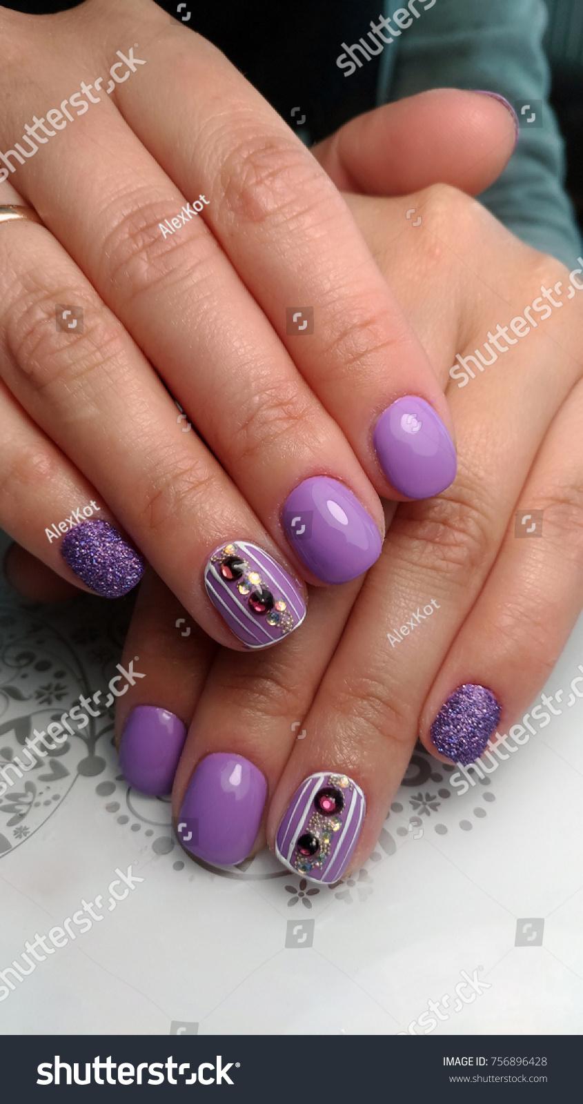 Nail Design Rhinestones Stock Photo (Download Now) 756896428 ...