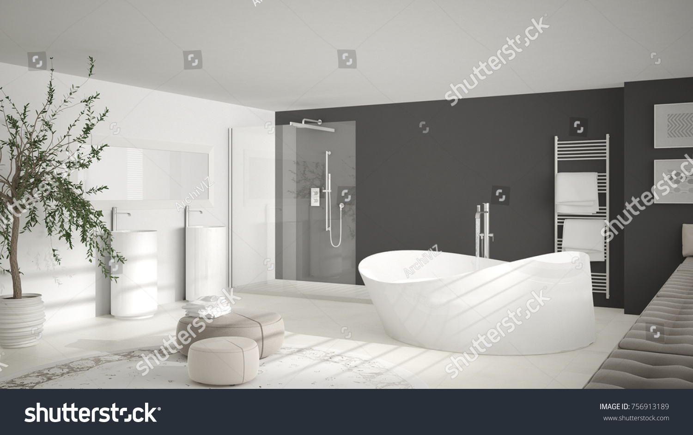 Modern Classic Bathroom Big Round Carpet Stock Illustration ...