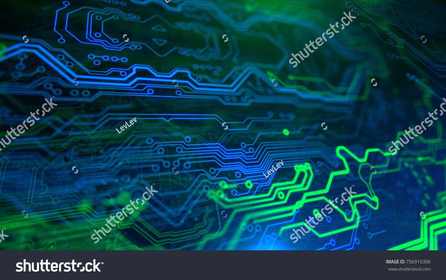 Green Blue Motherboard Technology Digital Inegrated Stock Pcb The Printedcircuitboard 3d Royalty Free Photography And Printed Circuit Board