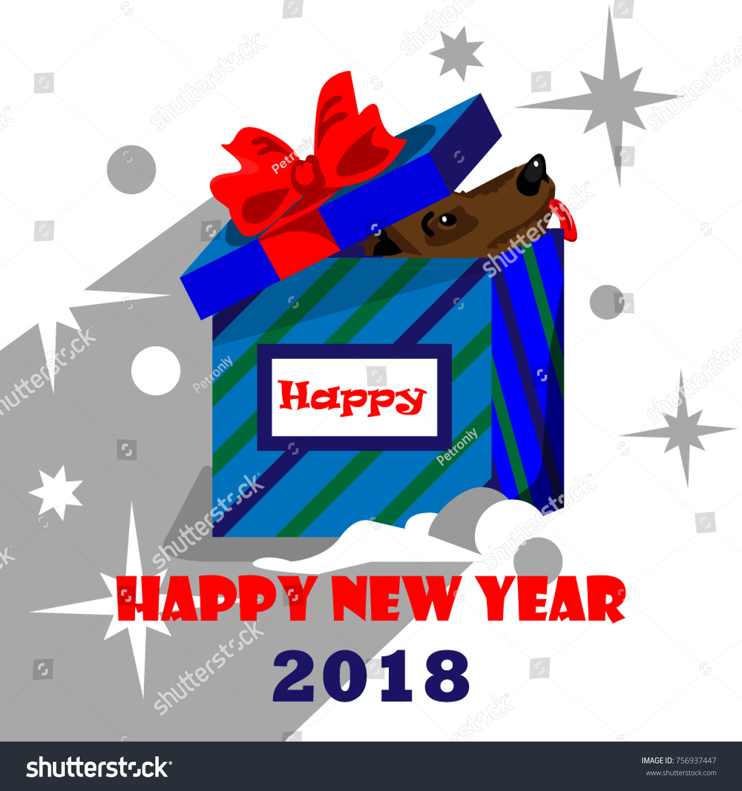 happy new year 2018 a dog in a gift box greeting card or