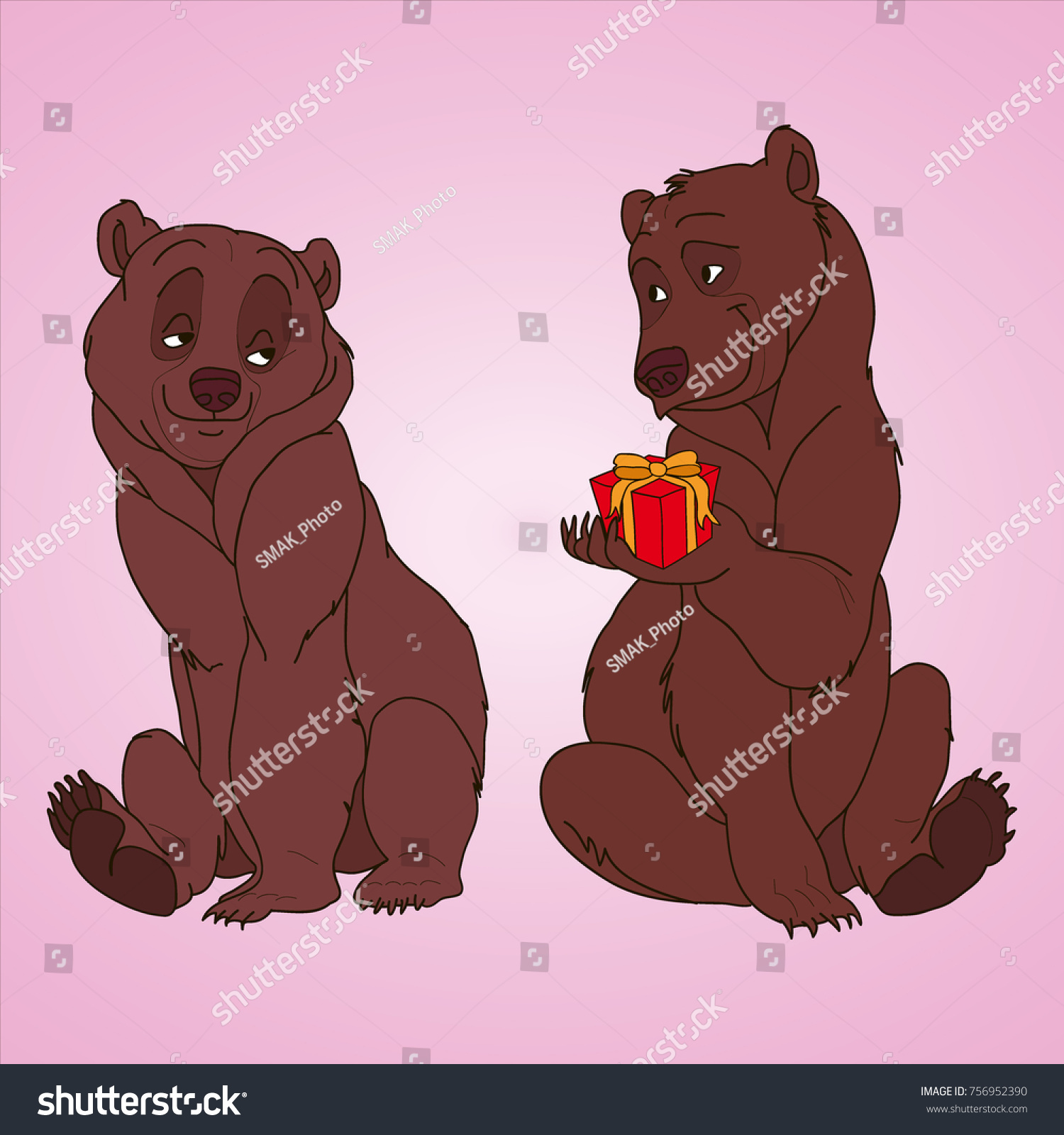 Lovers Bears Coloring Pages Bear Gives Stock Illustration 756952390 ...