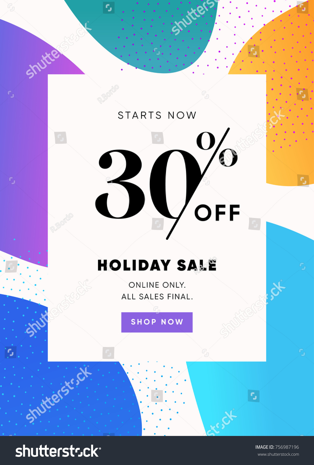 Holiday Sale Banner 30 OFF Special Offer Ad Discount Promotion Vector