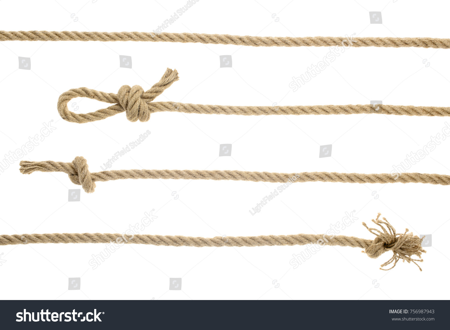 close-up view of brown nautical ropes with knots isolated on white  #756987943