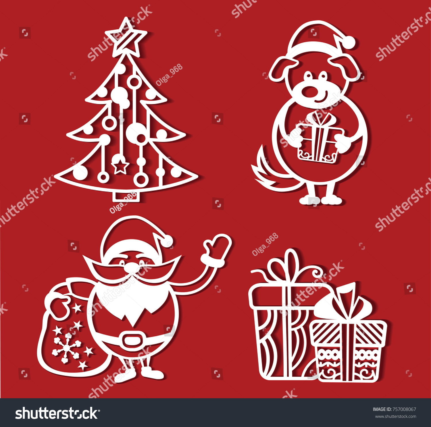 Christmas Dog Holding Gift His Paws Stock Vector Royalty Free