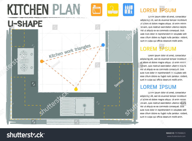 Kitchen Work Triangleskitchen Plan Ergonomic Kitchen Stock Photo ...