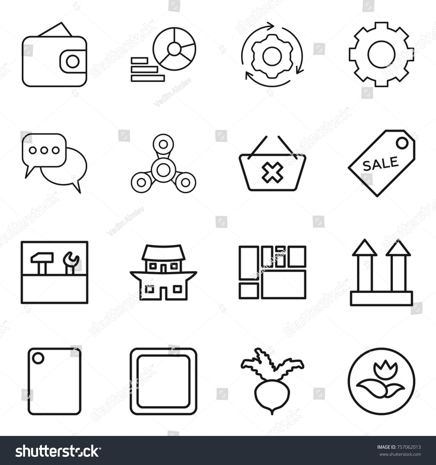 Thin line icon set wallet diagram stock vector 757062013 shutterstock ccuart Gallery