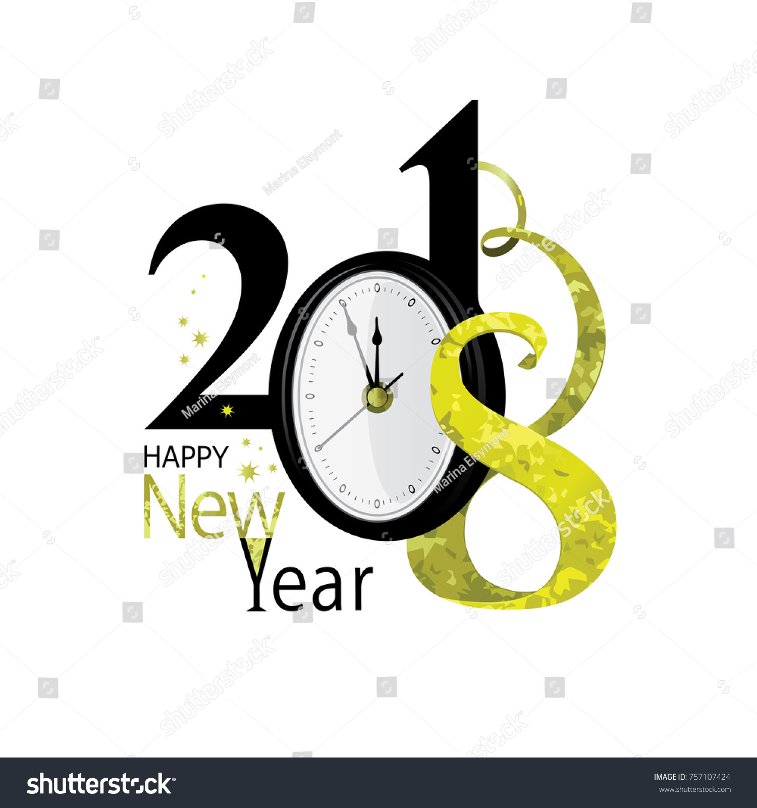 2018 happy new year gold and black colors clock stylized text happy new