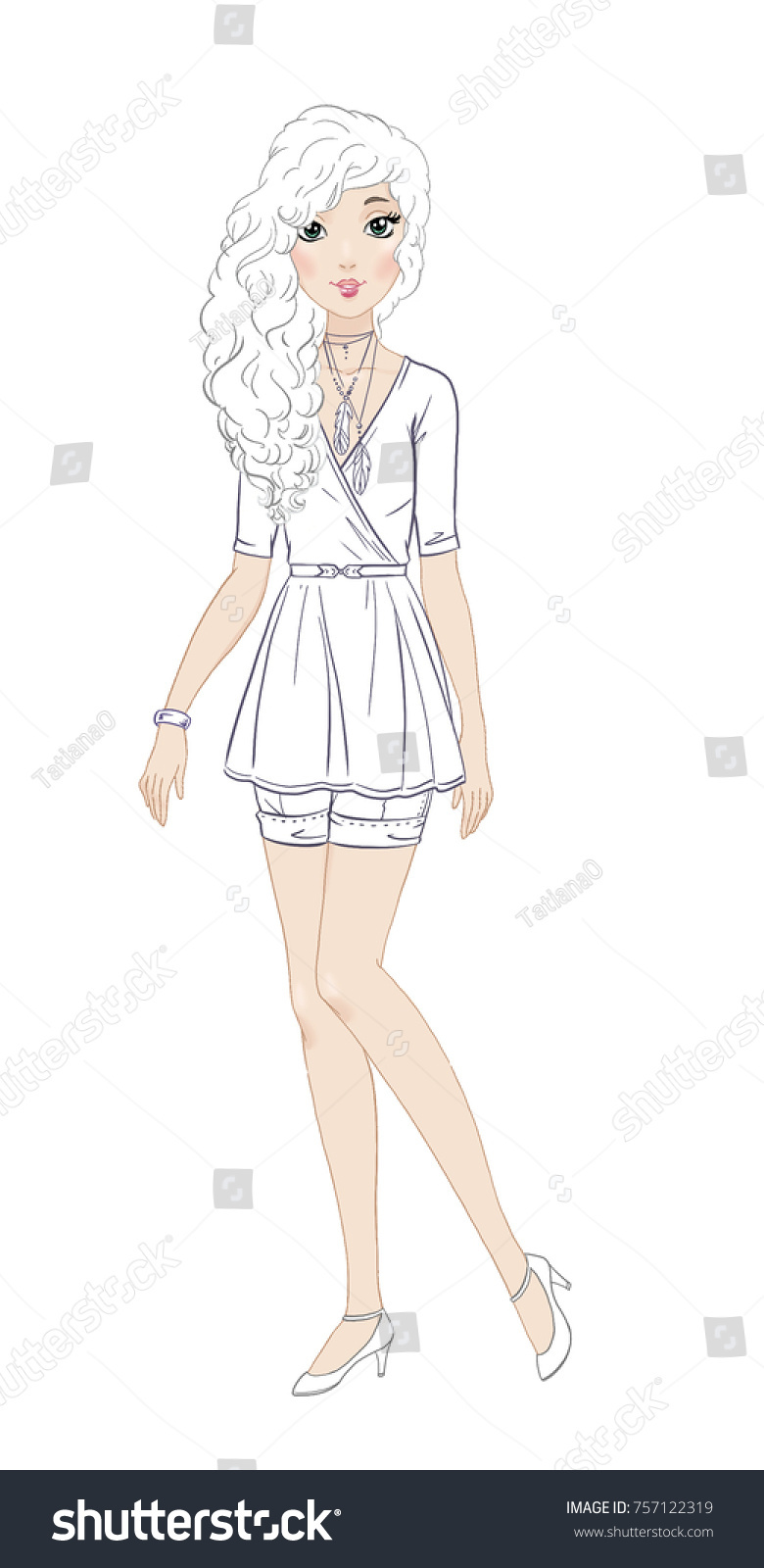 fashionable teen girl in beautiful casual outfit coloring page - Teenage Girl Coloring Pages