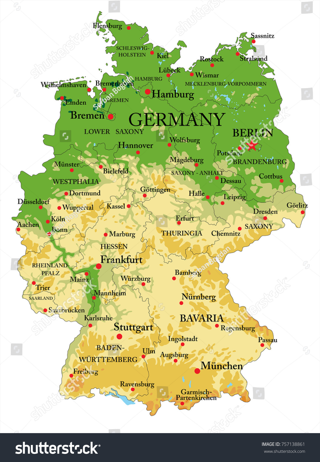 Germany Physical Map Stock Photo Photo Vector Illustration