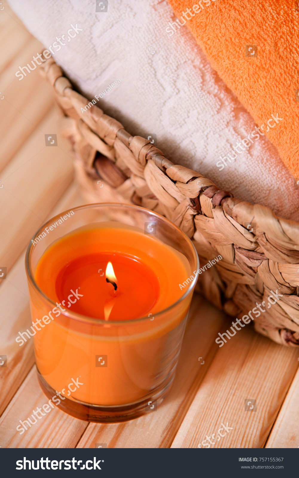Orange Scented Candle Two Colored Towels Stock Photo Edit Now 757155367