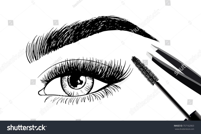 Beautiful Eye Eyebrows Set Tools Accessories Stock Vektorgrafik