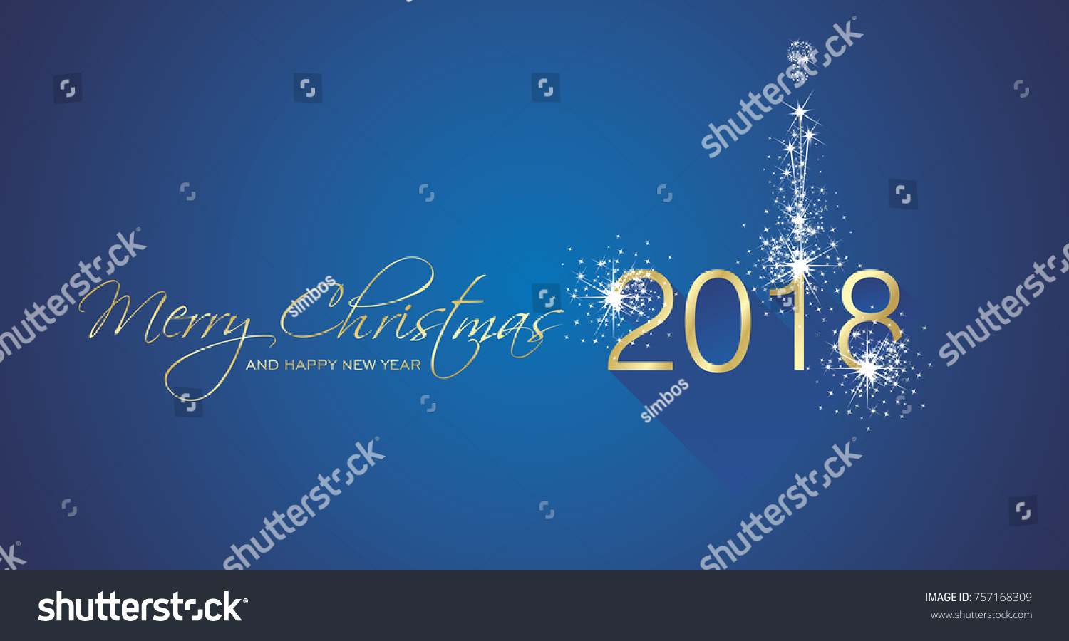 new year 2018 firework gold white blue greeting card vector