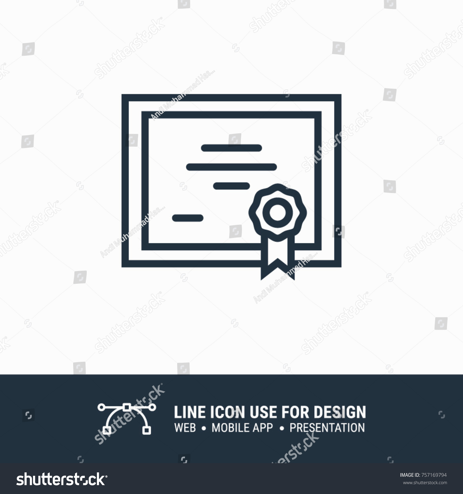 Icon Online Certificate Graphic Design Single Stock Vector