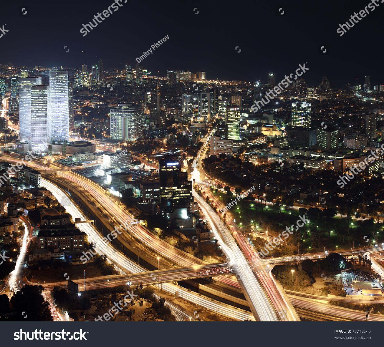 tel aviv skyline night israel stock photo 75718546 shutterstock