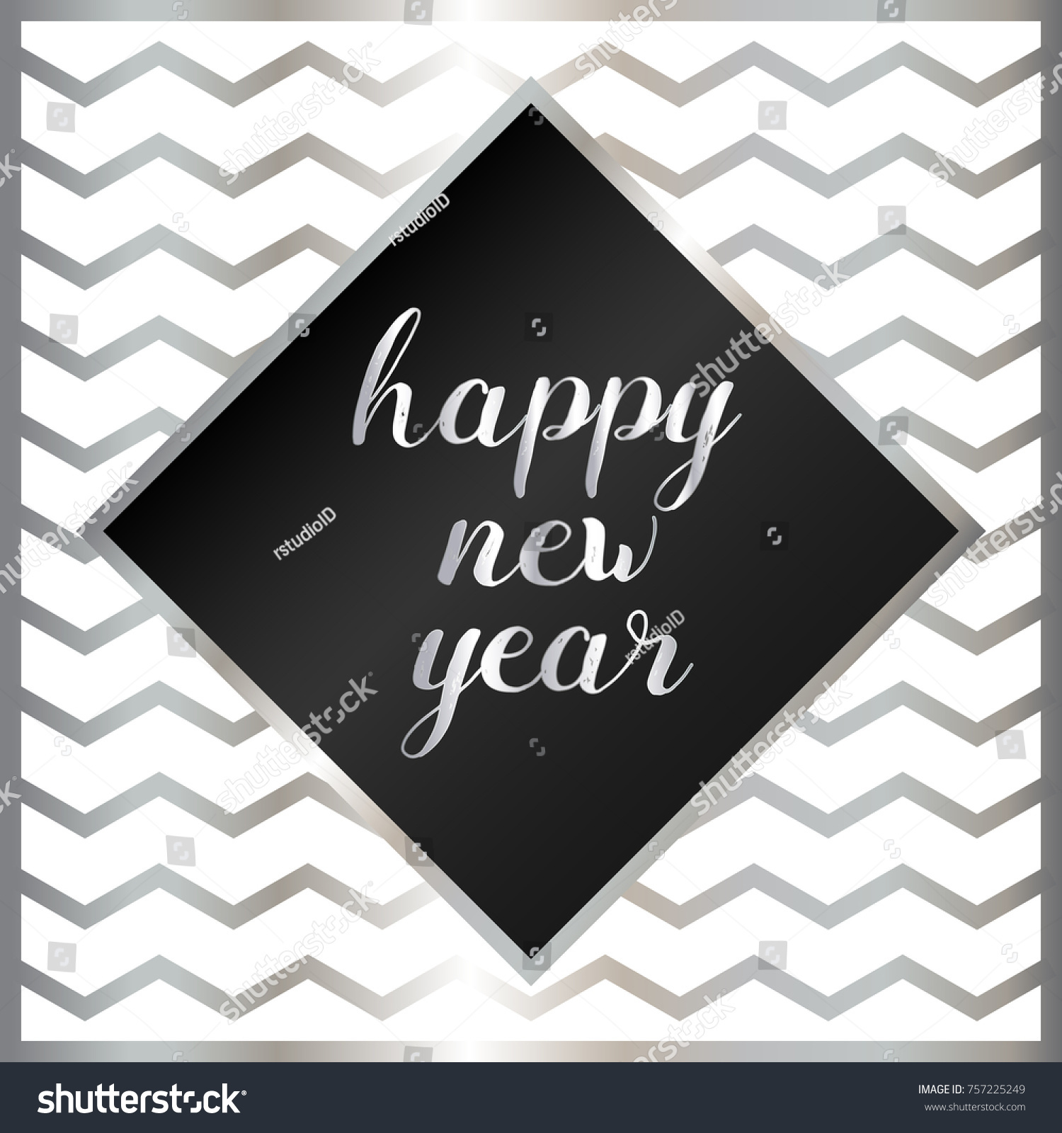 Happy New Year Greeting Cards Black Stock Vector Royalty Free